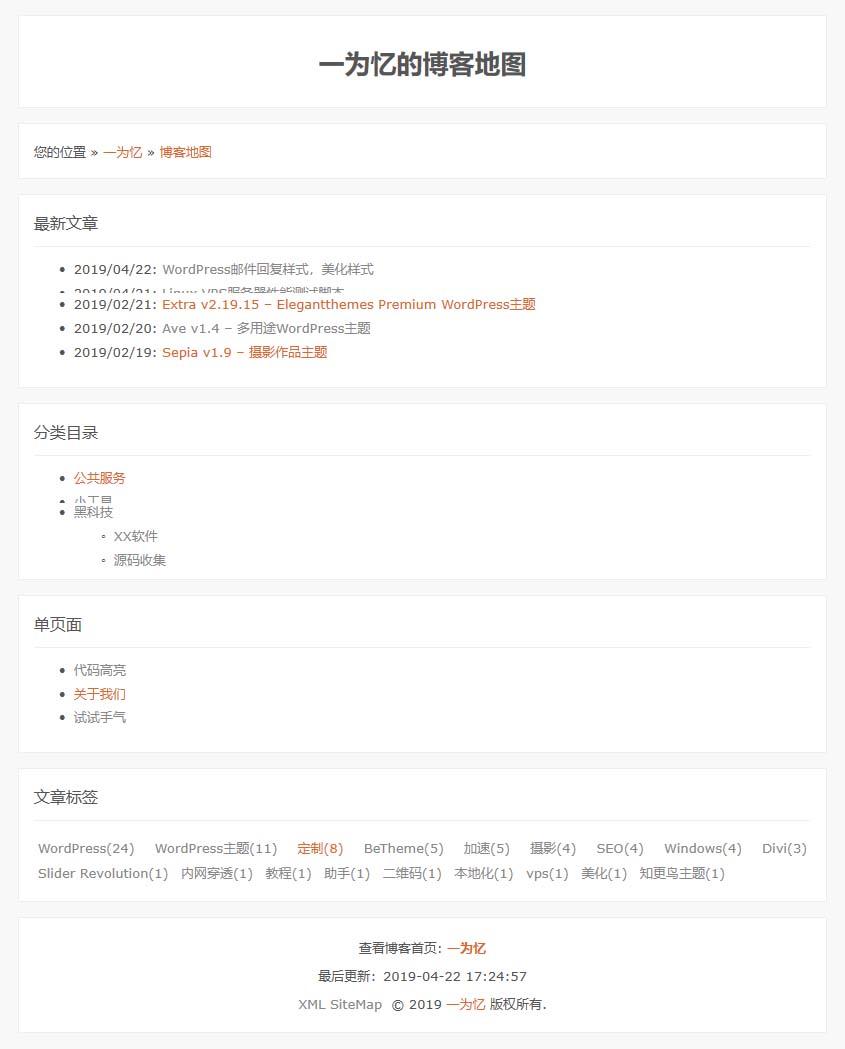 Wordpress网站地图SiteMap模板页